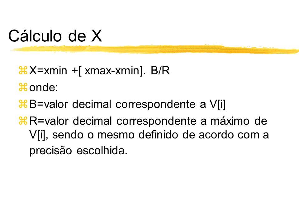 Cálculo de X X=xmin +[ xmax-xmin]. B/R onde: